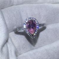 1.60Ct Pear Cut Pink Sapphire Diamond Halo Engagement Ring 14K White Gold Finish