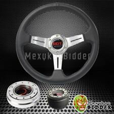 Silver Deep Dish Steering Wheel Quick Release Hub Kit For Honda Accord 90 93