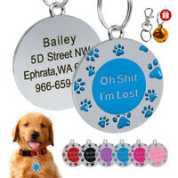 Personalized Dog ID Tags Paw Print Engraved Name Custom Free Bell for Pet Puppy