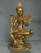 """14"""" Tibet Mahayana Buddhism Copper Gilt Green Tara enlightenment Goddess Statue"""