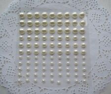 99 x IVORY PEARL Multi Sized Stick On  Wedding Stickers Scrapbook 8mm 6mm & 4mm
