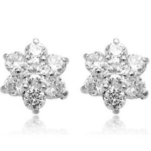 Sparkly 18ct White Gold Snowflake Stud Earrings Clear CZ Flower Star April UK