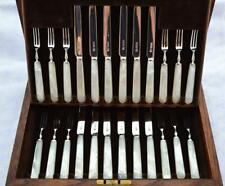 12 PAIRS CARVED MOTHER OF PEARL & STERLING SILVER KNIVES & FORKS SHEFFIELD 1926