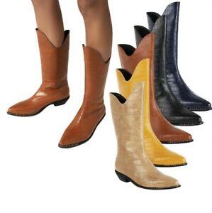 Winter Autumn Women's Cowboy Low Heel Pointy Toe Mid Calf Boots Outdoor 44/48  D