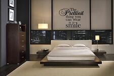 PRETTIEST THING YOU CAN WEAR IS A SMILE STICKER STICKY WALL QUOTE DECAL VINYL