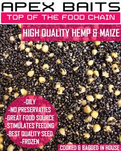 Cooked Hemp Seed and Maize Carp Fishing Particle, Spod Mix 3 5 10 15 20 Kilos