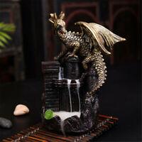 Dragon Backflow Smoke Incense Burner Resin Waterfall Figurine Censer Home Decor
