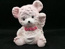 Pink Teddy Bear with Flower Necklace Planter Indoor Pot Samson Import Co. 1963
