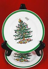 """Set of 2 - SPODE Christmas Tree 7.75"""" SALAD PLATES - MADE in ENGLAND - S3324"""