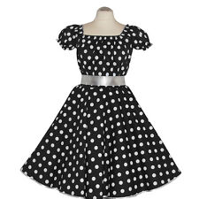 50er Rockabilly Vestito Sottoveste PIN UP PARTY COTONE S/M 102 Nero