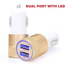 Car Charger 3.1A Double LED USB Alloy Universal Fast Charging iPhone Samsung Gld