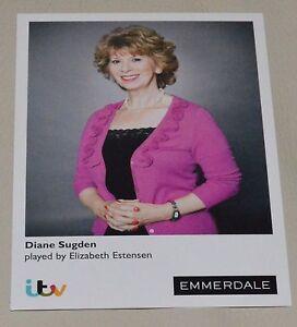 DIANE SUGDEN/ELIZABETH ESTENSEN ITV EMMERDALE UNSIGNED CARD - MINT CONDITION