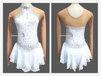 White Ice Figure Skating Dresses Custom Women Competition Skating Dress W153