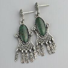 Vintage Peru Carved Intricate Chandelier Earrings Sterling Silver Green Jasper