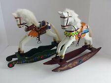 "Vintage Lot Set 2 Large Solid Wood Christmas Winter Horse Decorations 12""X15.50"""