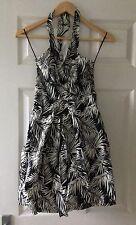 H&M Black & White Halter-neck Dress Size 8 Ladies New Eur 34 Net Lining BNWT