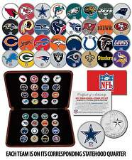 NFL TEAM LOGOS COMPLETE SET Colorized State Quarters 32-Coin Set w/Display Box