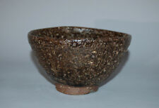 Chawan tea bowl, coarse stoneware, inclusions, Japan