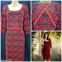 NEW PER UNA LAYERED LACE DRESS SHIFT RED BLACK VTG FLORAL OCCASION SIZE 8 - 14