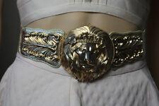 Baroque Massive Gold Tone Lion Head Waist Belt