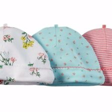 Carter's baby 3-Pack 100% cotton Rib Beanies hats - girl pink floral striped
