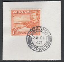 Cipro 5515 - 1938 KG6 1pi su pezzo con MADAME Joseph FORGIATO TIMBRO POSTALE