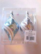 2 Blue & Purple 6.5 Inch Finial Christmas Ornament Decoration Shatter Resistant