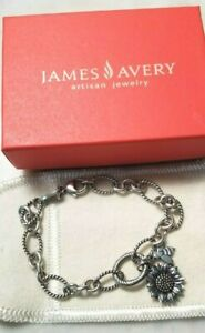 JAMES AVERY TWISTED OVAL CHANGEABLE LINK CHARM BRACELET SUNFLOWER & BEE CHARMS