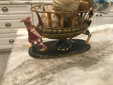 Decorative Harlequin Pedestal Bowl with Four Gold Balls