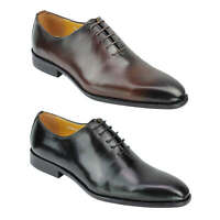 Mens Wholecut Oxford Shoes Handmade Polished Real Leather Lace up in Black Brown