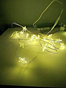 20 er LED Mikro Lichter Draht Sterne 190 cm   Batterie  Warm weiß 92