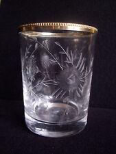Vase ancien en cristal gravé de roses et cerclé de métal milieu 20ème / verre