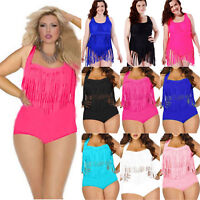Plus Size Women Tassel Fringe Bikini Set Tankini Swimwear Swimsuits Bathing Suit