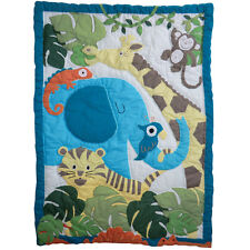 100% Cotton Patchwork Stitched Cot Quilt/Wrap - 102x76cms - Powell Craft -Jungle