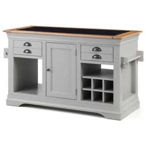 Dijon Grey Painted Granite Top Solid Oak Kitchen Island Unit (DJ006G) SRP £899
