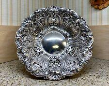 LQQK! GORGEOUS 1800's PORTUGAL STERLING SILVER 833 AGUIA EAGLE SCALLOPED BOWL!