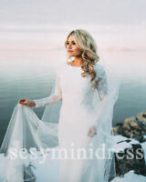 Long Sleeve Modest Wedding Gown White/Ivory Lace Boho Bridal Dress 4 6 8 10++