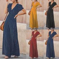 ZANZEA Womens Short Sleeve V Neck Polka Dot Long Dress Party Club Maxi Dresses