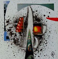 Collage tableau peinture FEUX signé Guenzone graphic pasting surrealism