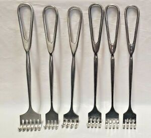 Lot of 6 Surgical Medical Retractors - five 4 prong & one 6 prong (3 are sklar)