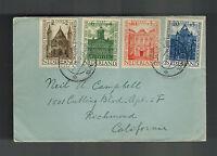 1948 Kollom Netherlands Cover to USA Full Set B185-B188