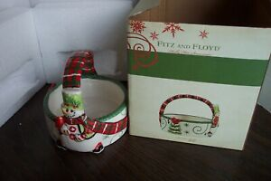 Fitz & Floyd China Christmas Ceramic Holly Hat Snowman Basket NIB See Pics