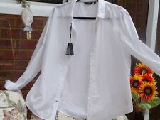 Massimo Dutti White Textured Cotton Shirt Size 16 Made in Portugal