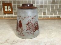 "VINTAGE HANSEL GRETEL COOKIE JAR w LID POKEE GINGERBREAD HOUSE 9"" Tall"