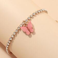 New 18K Gold Cute Rose red Butterfly Charm Rhinestone Bangle Bracelet Jewelery