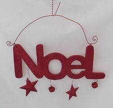 WOOD RED GLITTER NOEL SIGN HANGING~XMAS~WALL DECOR~HOLIDAY