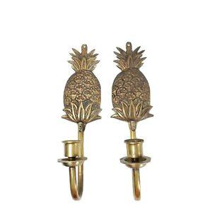 Vintage Brass Metal Pineapple Wall Sconce Candle Holder Set Hollywood Regency