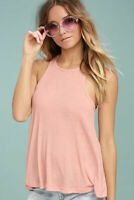 New Free People Womens Peach Ribbed Racerback La Nite Tank Top Cami Xs-L $20