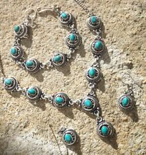 Handmade ethnic silver plated earrings necklace bracelet turquoise cabochon