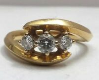 Antique Diamond Trilogy Ring 18ct / 18kt Yellow Gold